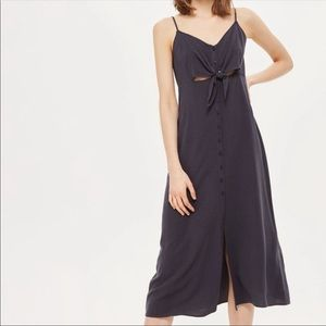 Navy blue button down dress with from tie accent